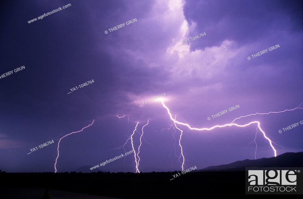Stock Photo: flashes of lightnings during a thunderstorm, Saint girons, France, Ariege.