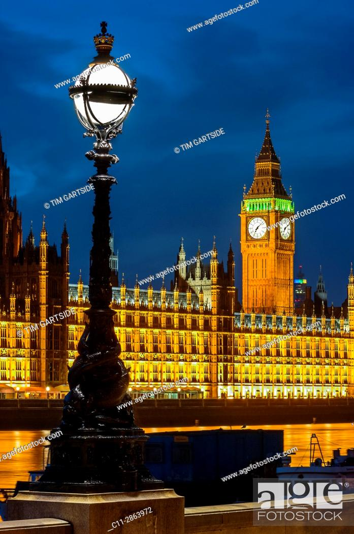 Stock Photo: big ben; westminster; houses of parliamen;t night; london; england ;uk;.