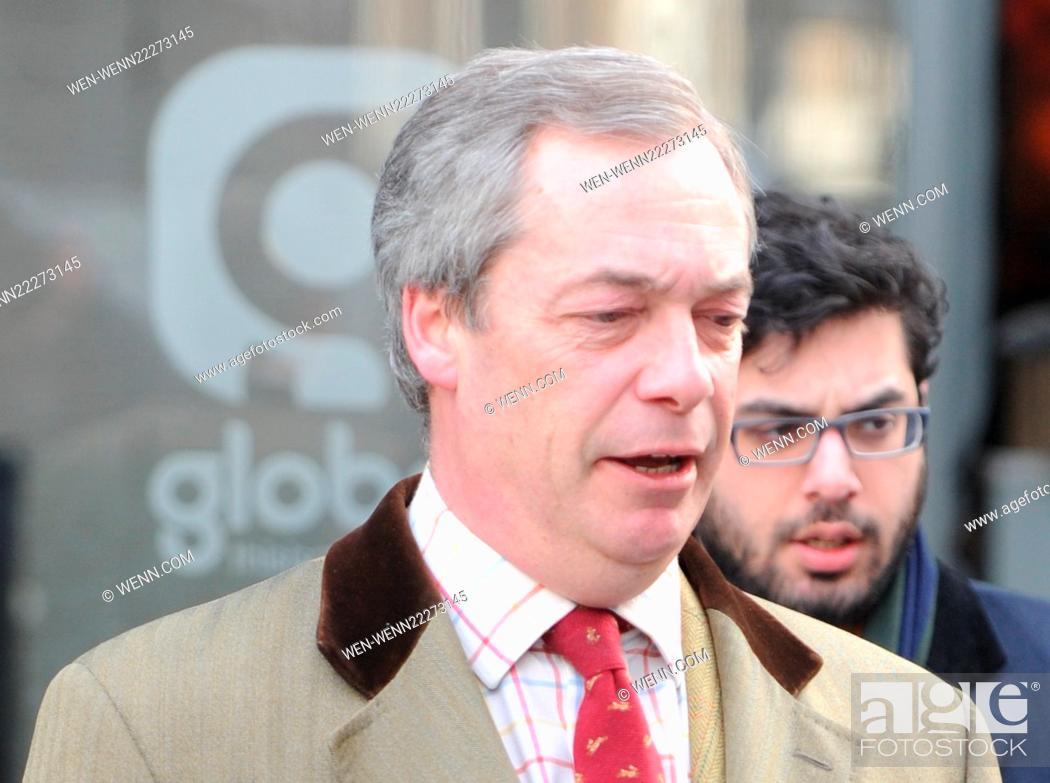 Nigel Farage leaving the LBC Radio studios Featuring: Nigel