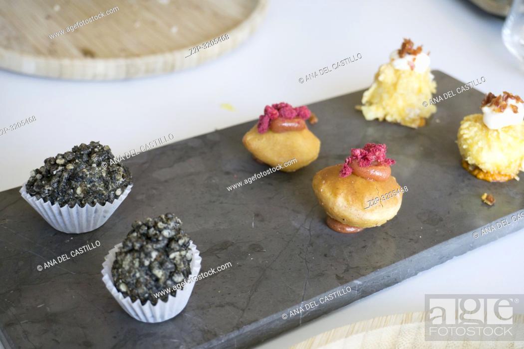 Stock Photo: Gourmet appetizers in restaurant Spain.