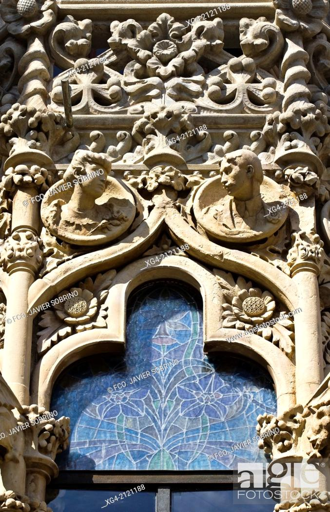 Stock Photo: Detail of the facade - Casa Navas - Modernism - Reus - Tarragona province - Catalonia - Spain - Europe.