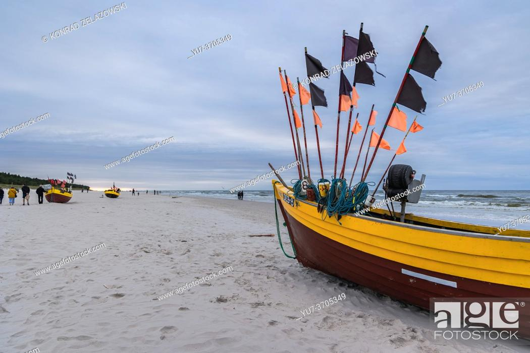 Photo de stock: Fishing boats on a Baltic Sea beach in Debki village in administrative district of Gmina Krokowa, within Puck County, Pomeranian Voivodeship, Poland.