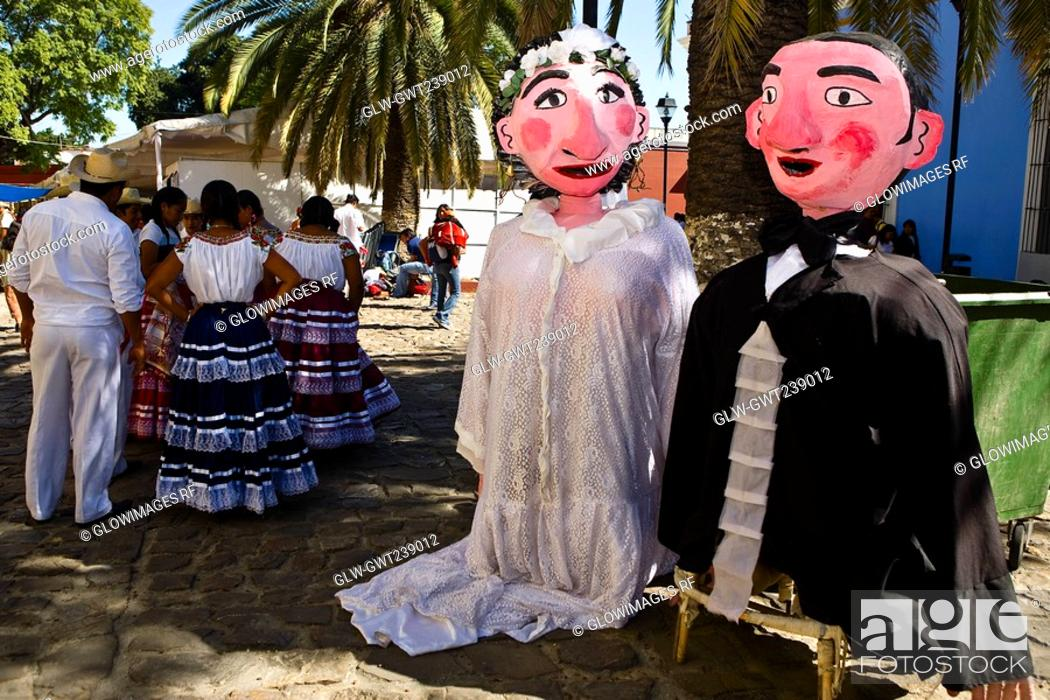 Stock Photo: Puppets and dancers at a wedding ceremony, Oaxaca, Oaxaca State, Mexico.