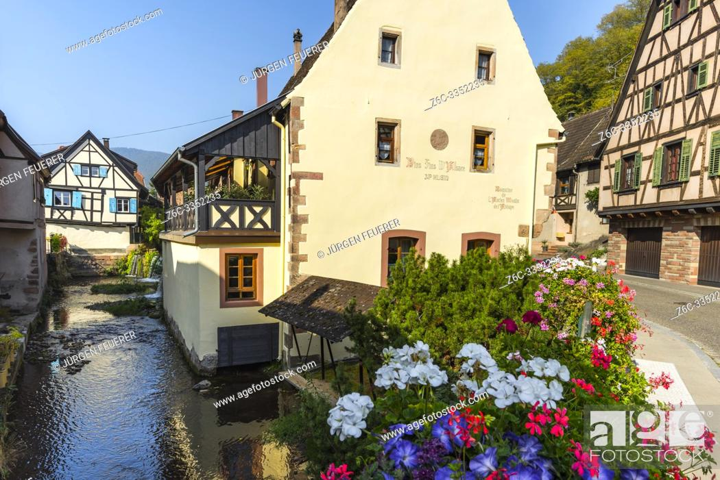 Stock Photo: brook in the old village Andlau, Alsace Wine Route, France, ancient mill of the abbey.