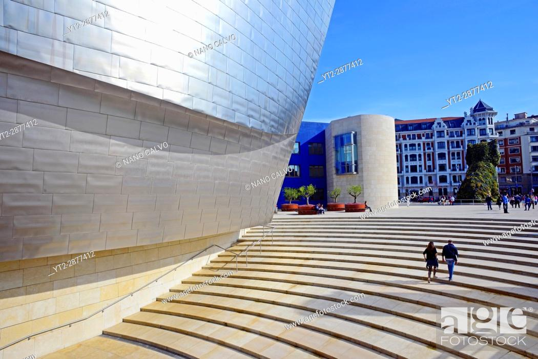 Stock Photo: The Guggenheim Museum Bilbao is a museum of modern and contemporary art, designed by Canadian-American architect Frank Gehry, and located in Bilbao.