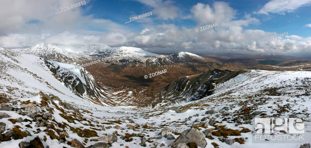 Stock Photo: Looking across Coirean Ban on Breabag to Conival and Ben More Assynt.