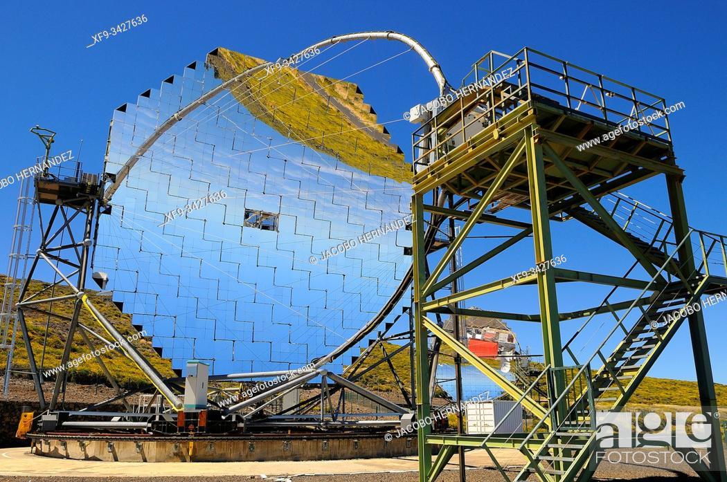 Stock Photo: Astronomical observatory. Roque de los Muchachos. Caldera de Taburiente National Park. La Palma. Canary Islands. Spain.