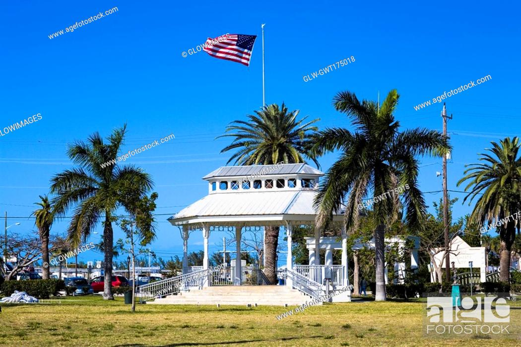 Stock Photo: Building surrounded by palm trees in a park, Bayview Park, Key West, Florida, USA.