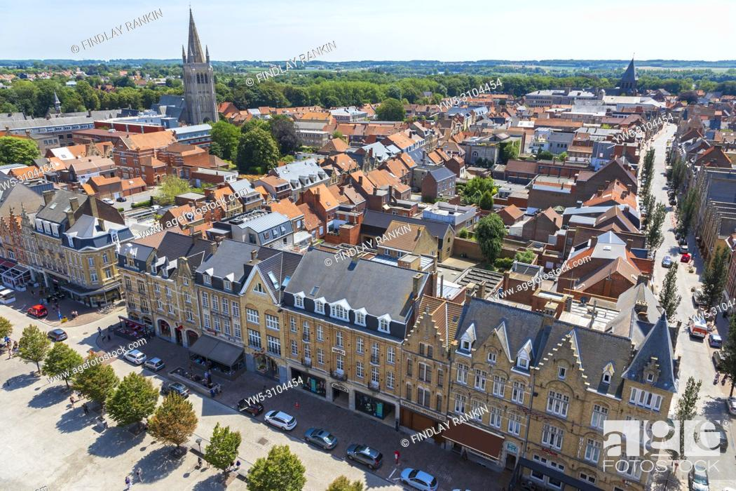 Stock Photo: High view of Grote Markt and the skyline of Ypres village, Belgium.
