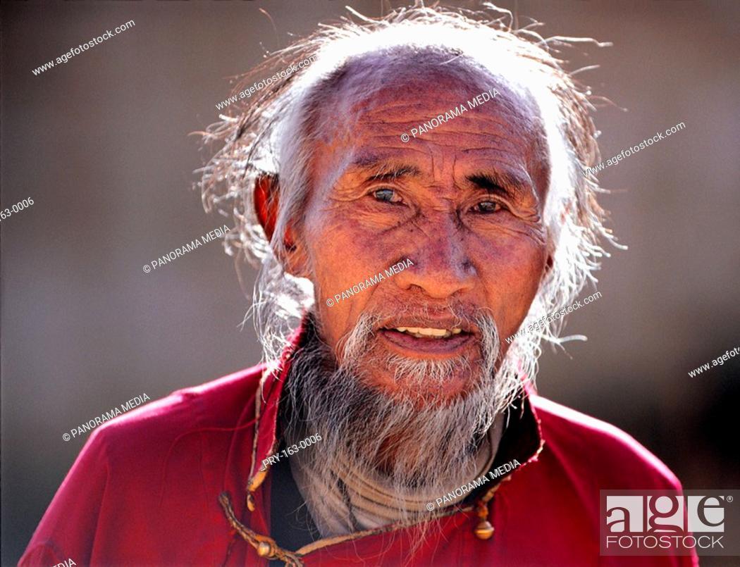 Stock Photo: A portrait of a Tibetan lama.
