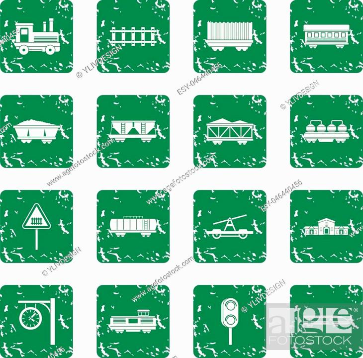Vector: Railway icons set in grunge style green isolated vector illustration.