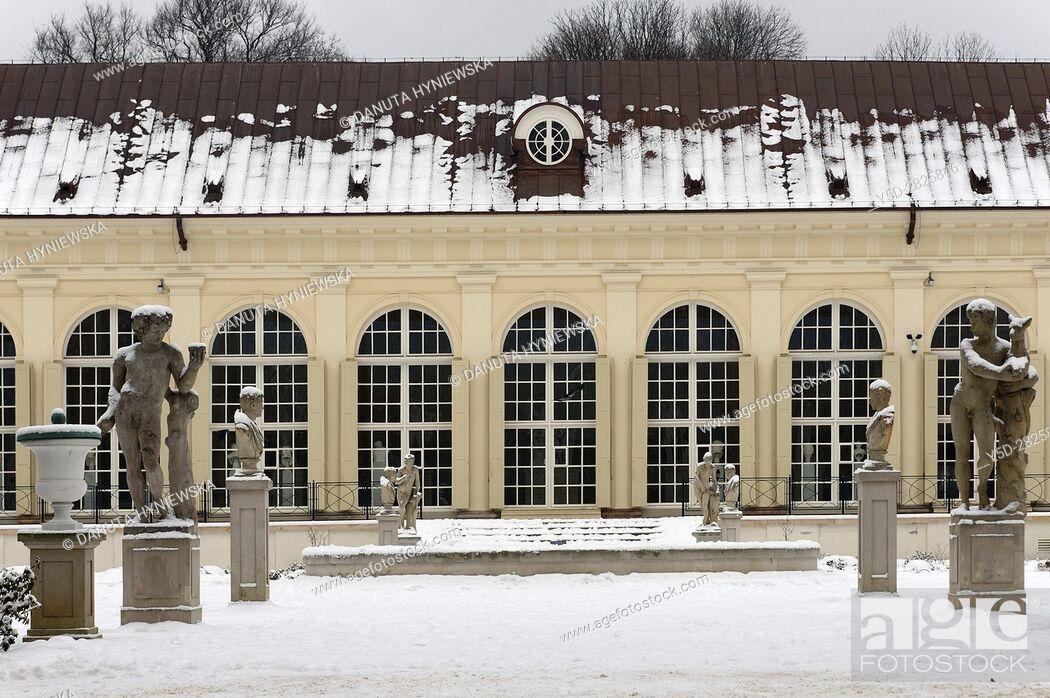 Front Facade Of Stara Pomaranczarnia In Winter Side Facade
