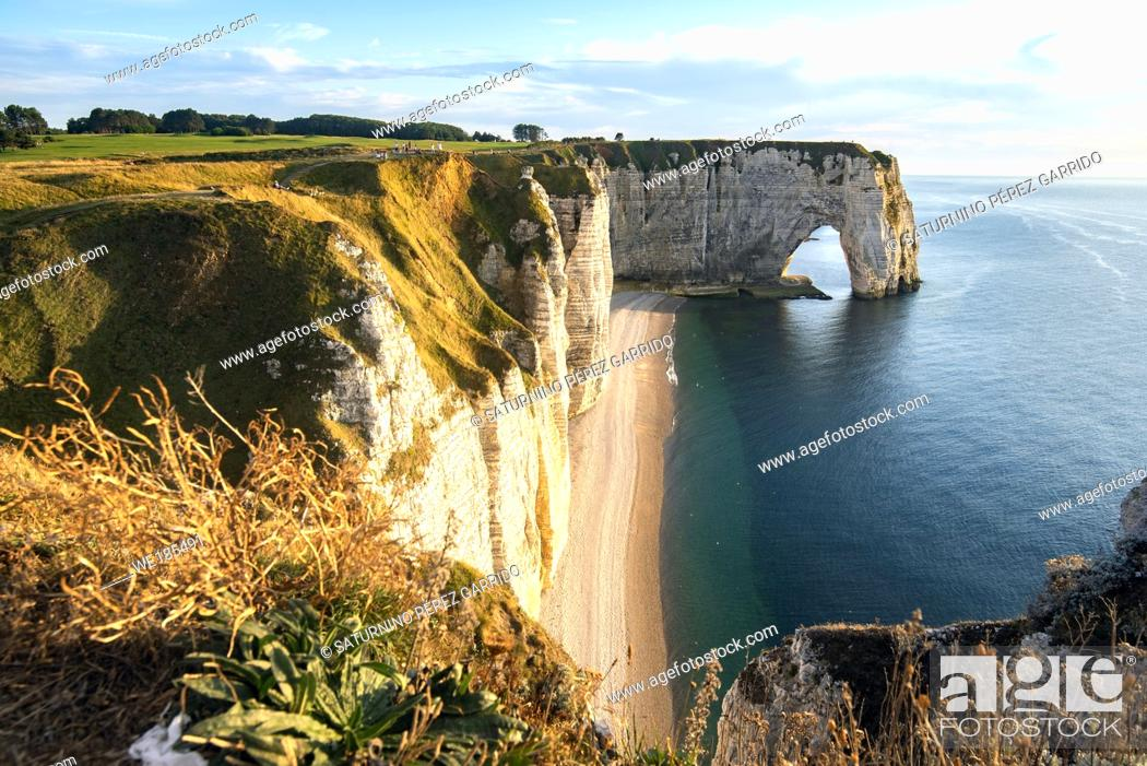 Stock Photo: Cliffs of Etretat, Normandy, north of France, Europe.