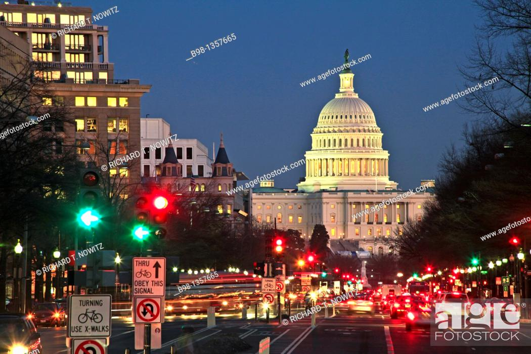 Stock Photo: United States, Washington, District of Columbia, US Capitol Building from Pennsylvania Ave.