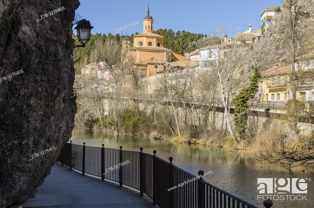 Stock Photo: View of a rock in Huécar river, Cuenca city, Spain.