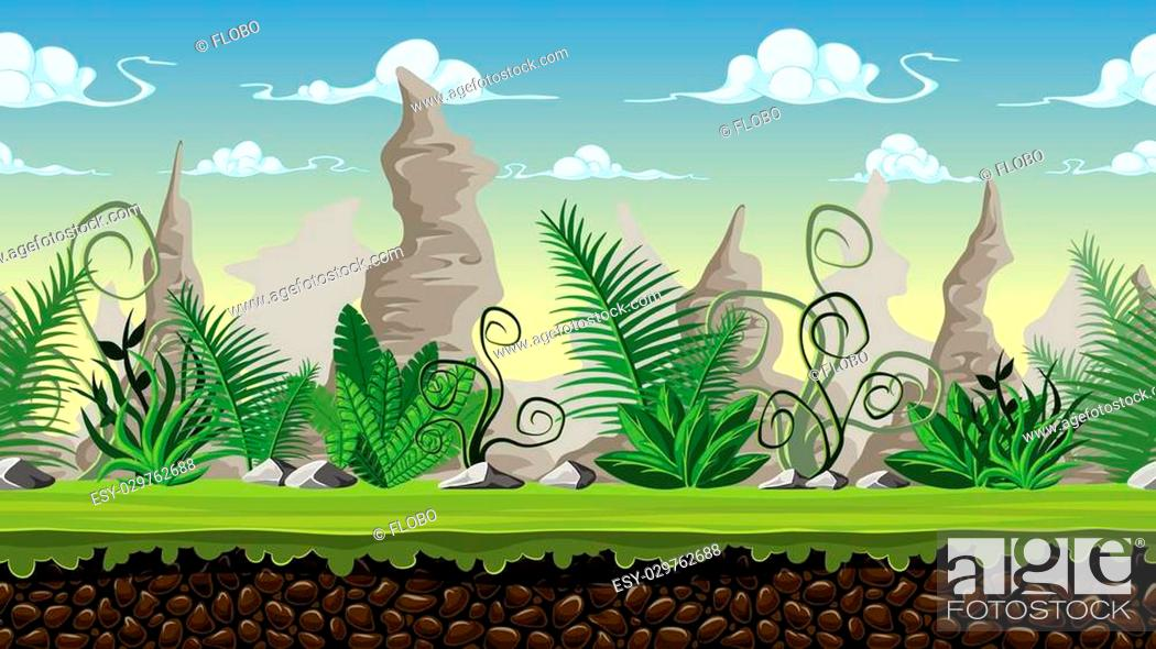 Vector: Seamless cartoon background for game design, vector illustration with separate layers.