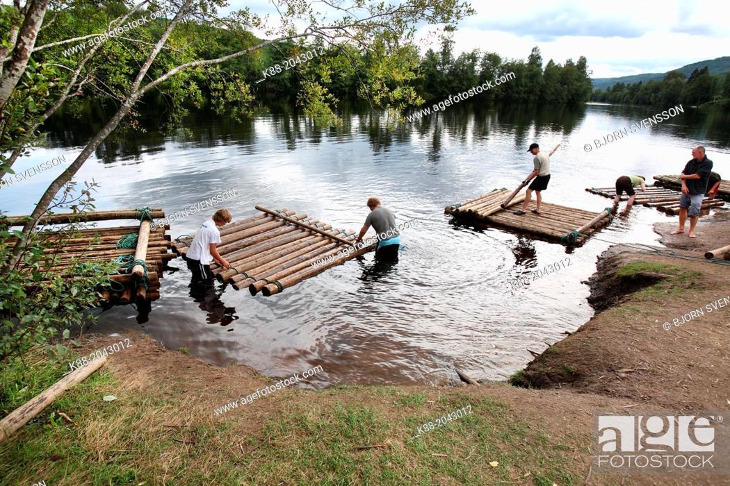 Stock Photo: Building timber rafts on Klar Alven. Varmland, Sweden.