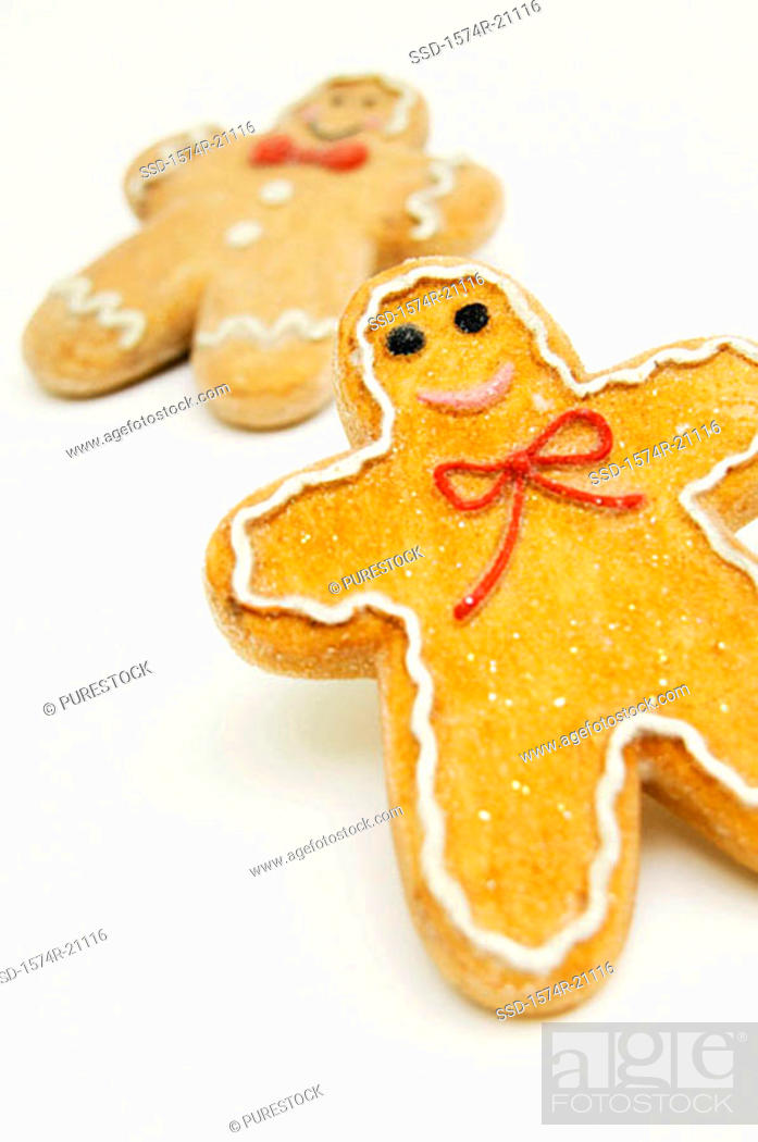 Stock Photo: Close-up of two gingerbread men.