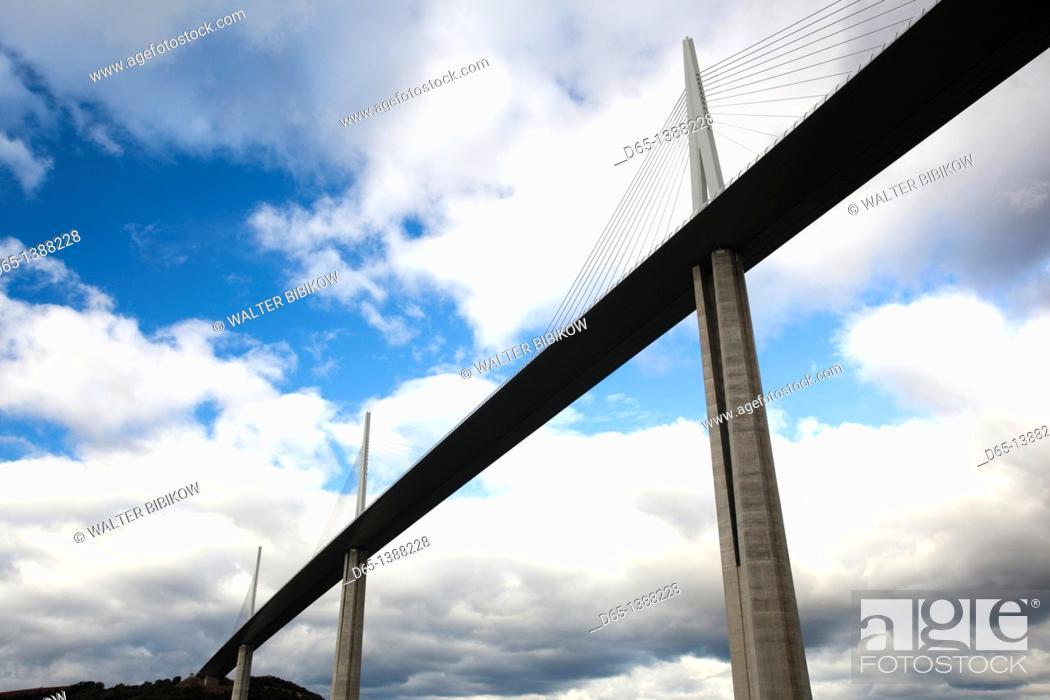 Stock Photo: France, Midi-Pyrenees Region, Aveyron Department, Millau, Millau Viaduct Bridge.