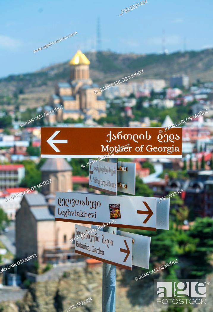 Imagen: Directional signs. Tbilisi City, Georgia, Middle East.