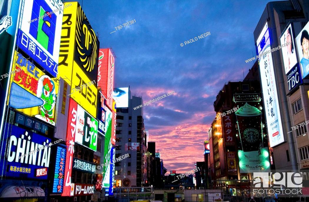 Stock Photo: Japan, Osaka, Minami, Dotonbori District, urban street scene at night.