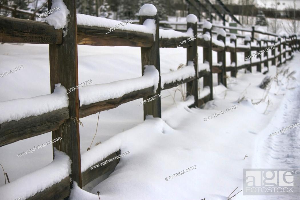 Stock Photo: Snowed Fence in Durango, Colorado, USA.