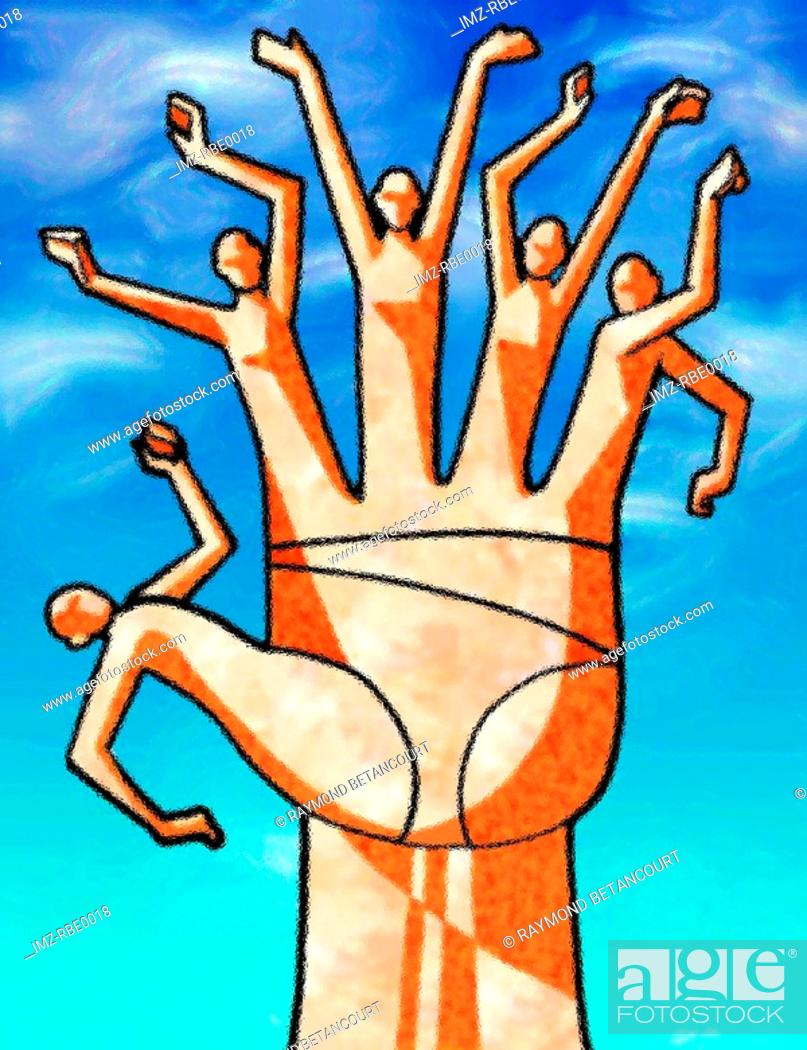 Stock Photo: A graphic illustration of a living hand.