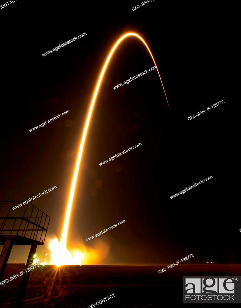 Stock Photo: This long exposure photograph shows the flight path of the Soyuz TMA-12M rocket as it launches from the Baikonur Cosmodrome in Kazakhstan on March 26, 2014.