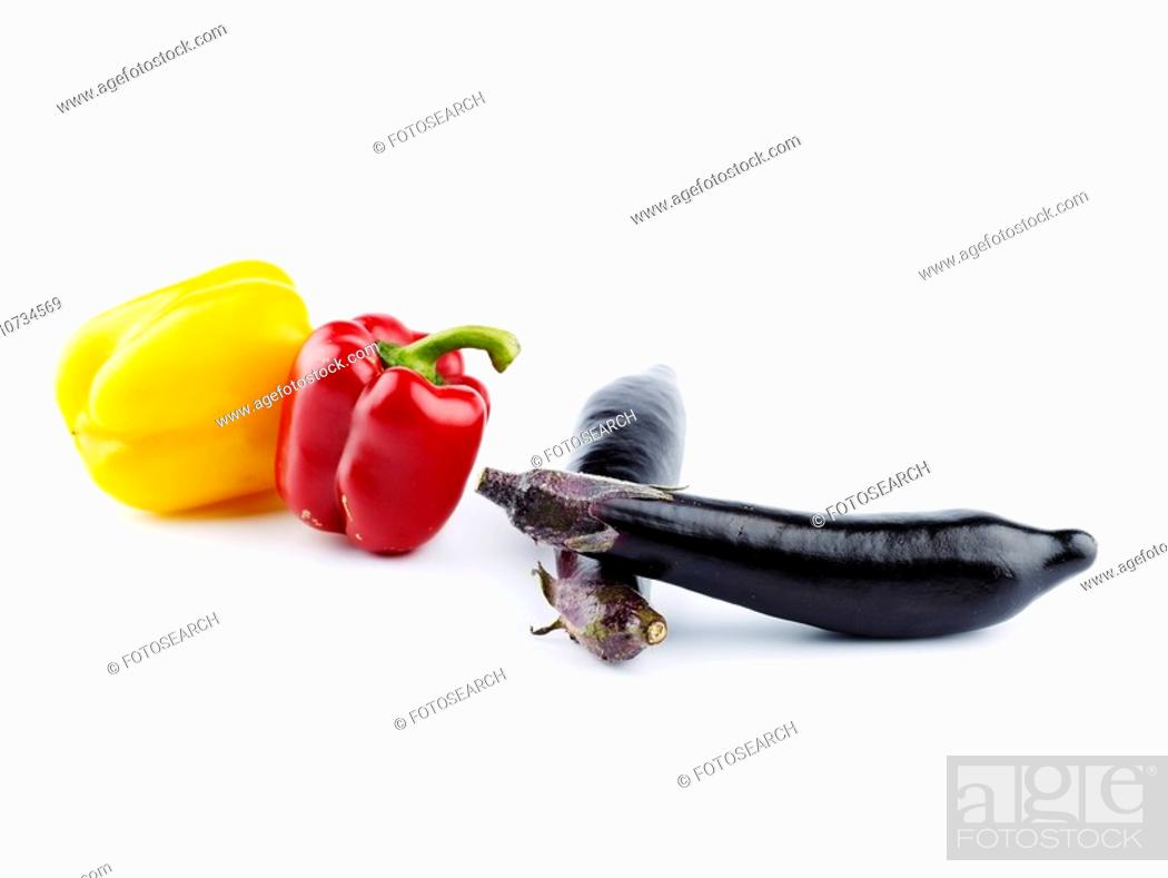 Stock Photo: cuisine, paprika, food, yellow, red, eggplant.