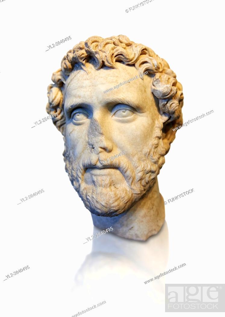 Stock Photo: Roman portrait bust of Emperor Antoninus Pius, 138-161 AD. Titus Fulvius Aelius Hadrianus Antoninus Augustus Pius, also known as Antoninus.