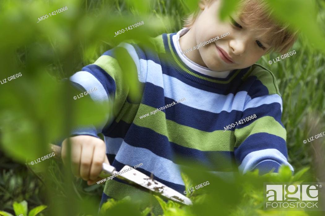Stock Photo: Boy 5-6 digging using trowel in countryside.