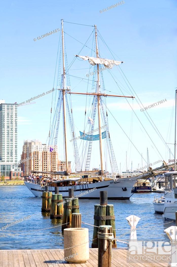 Stock Photo: Tall ship moored at a harbor, Inner Harbor, Baltimore, Maryland, USA.