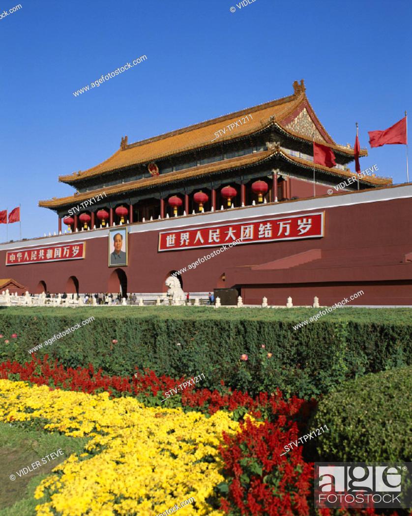 Stock Photo: Asia, Beijing, Peking, China, Gate, Holiday, Landmark, Tiananmen, Tiananmen square, Tourism, Travel, Vacation,.