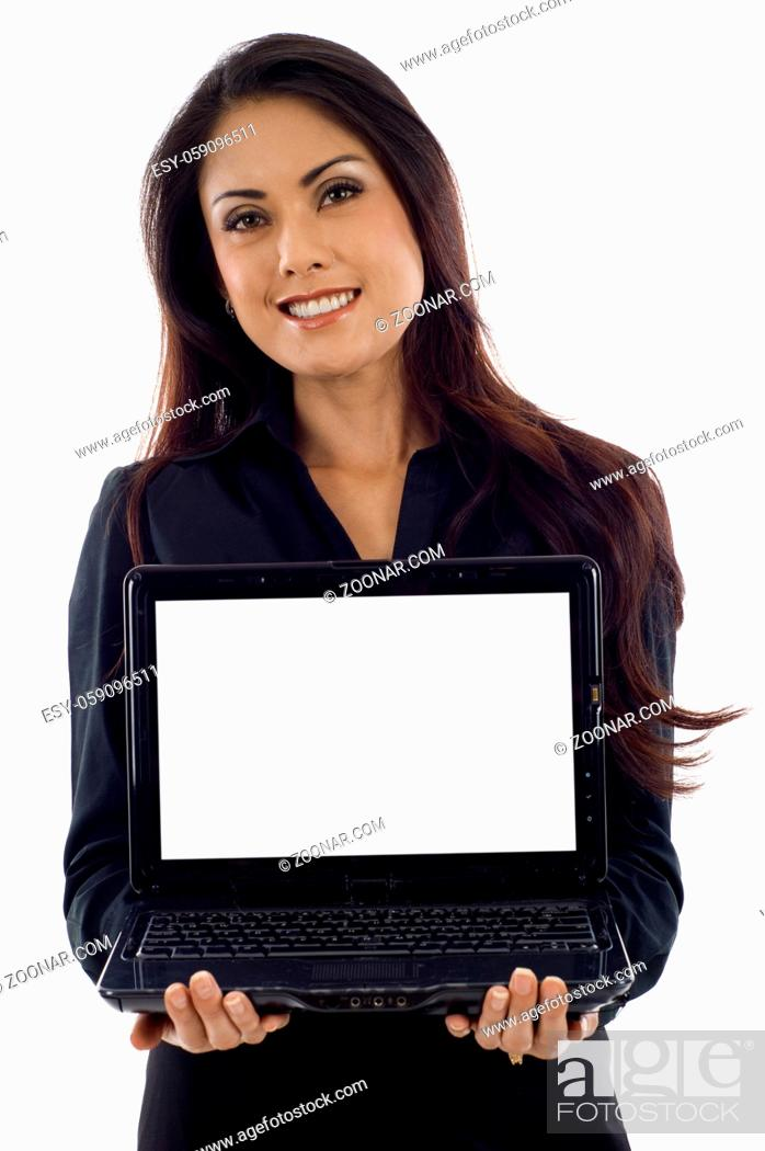 Stock Photo: Asian American businesswoman with a laptop isolated over white background.