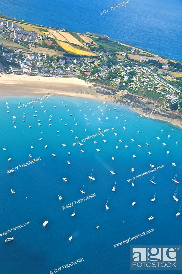 Stock Photo: Granville and its marina, aerial shot, Cotentin, 50, Normandy, France.