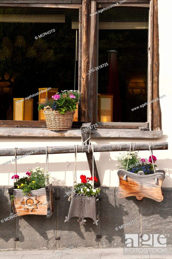 Pontresina Switzerland Wooden Window Flower Boxes 01 01 2011 Stock Photo Picture And Rights Managed Image Pic Vig 2618725 Agefotostock