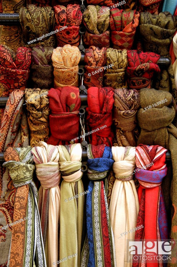 Stock Photo: Hungary, Budapest Pest, Scarves at a shop on Vaci Street.