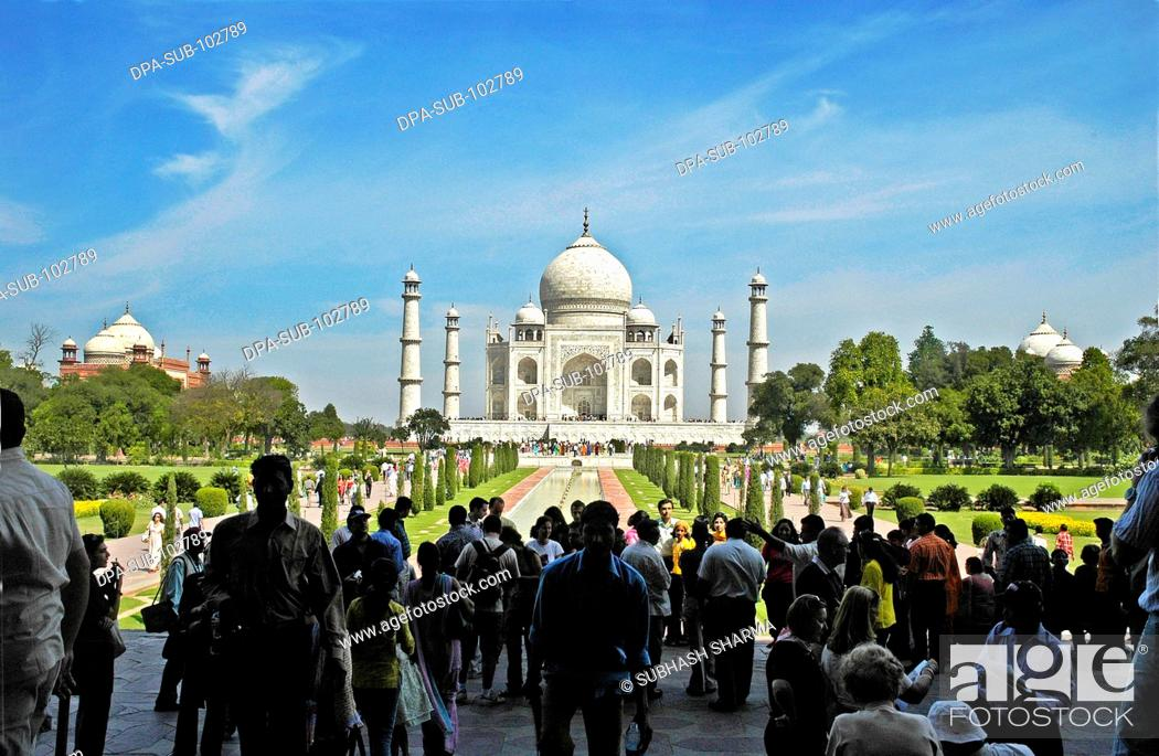 Stock Photo: Wonder world Taj Mahal Heritage site Agra Ancient artist artistic beautiful blue sky clouds Color constructed 1631 A.D -1648 A.