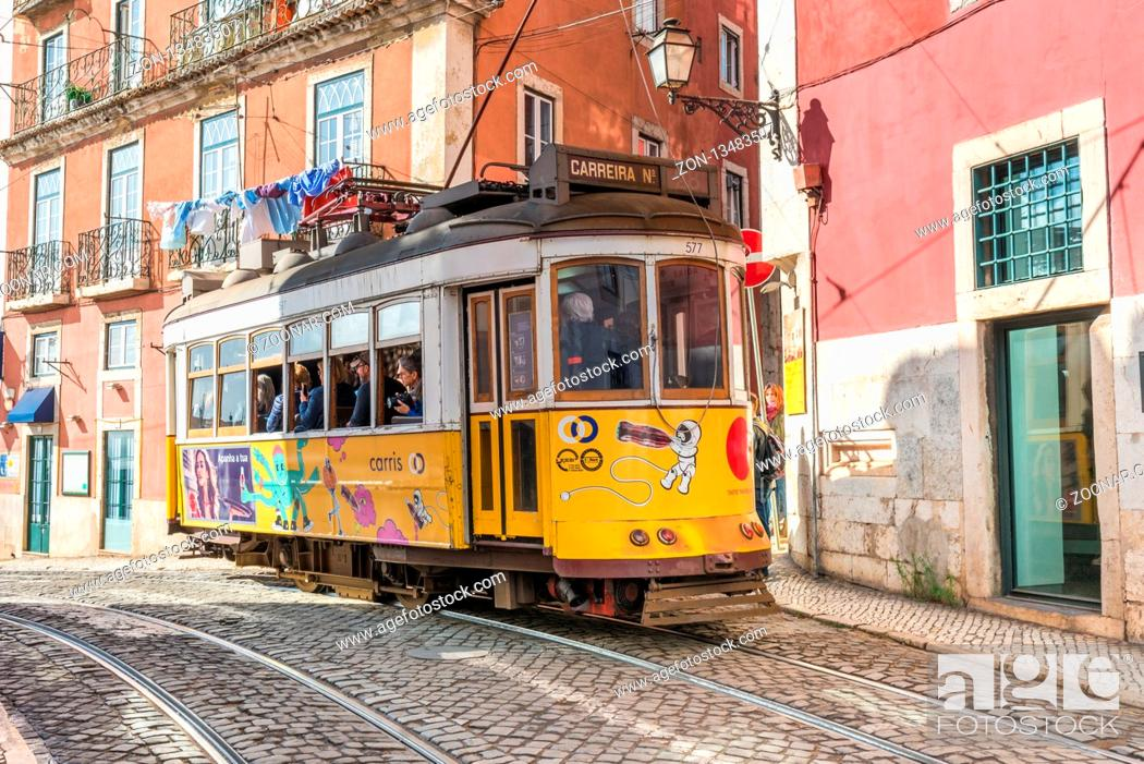 Stock Photo: The tramline twenty-eight with its heritage streetcars is a major attraction in Lisboa.