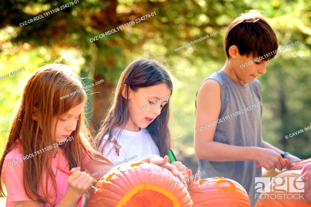 Stock Photo: Three Young Children Carving Pumpkins Outdoors.