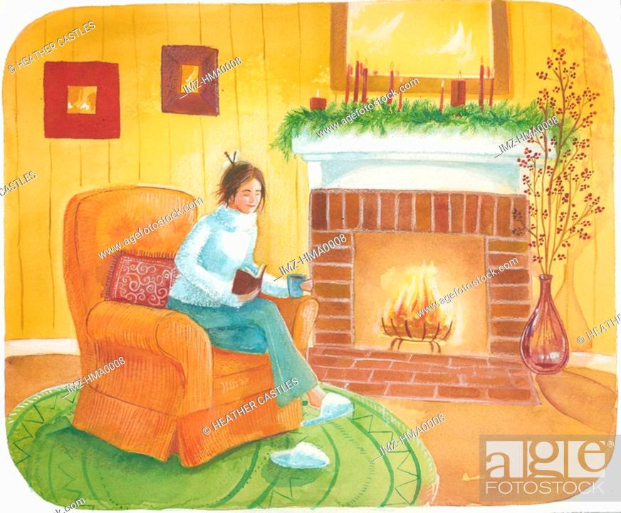 Stock Photo: reading by the fireplace.