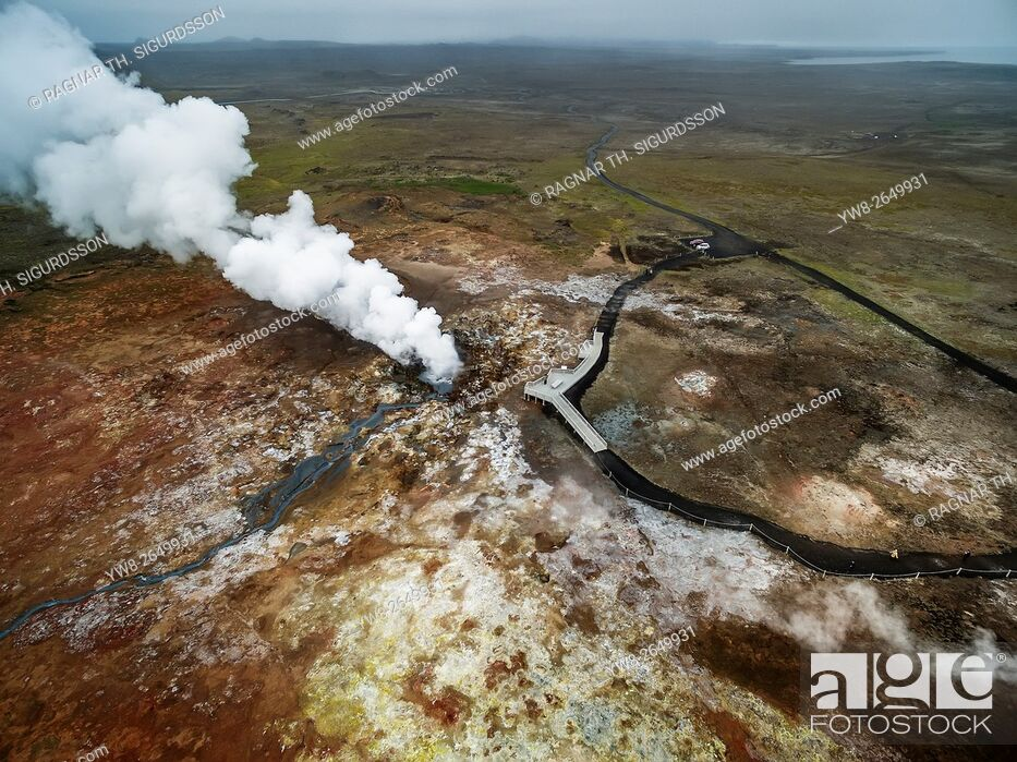 Stock Photo: Aerial-Geothermal Steam and landscape, Gunnuhver hot spring, Reykjanes Peninsula, Iceland. This image is shot with a drone.