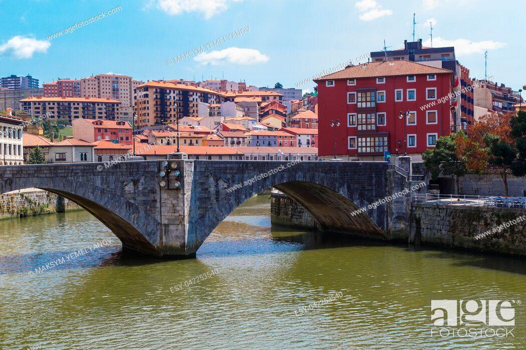 Stock Photo: San Anton bridge is an arch bridge in Bilbao, Basque country. Spain.