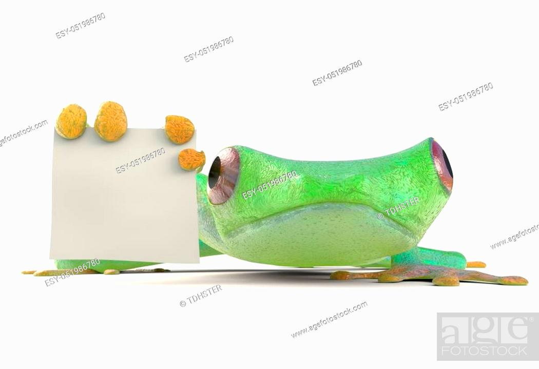 Stock Photo: Frog with a blank sign 3d render.