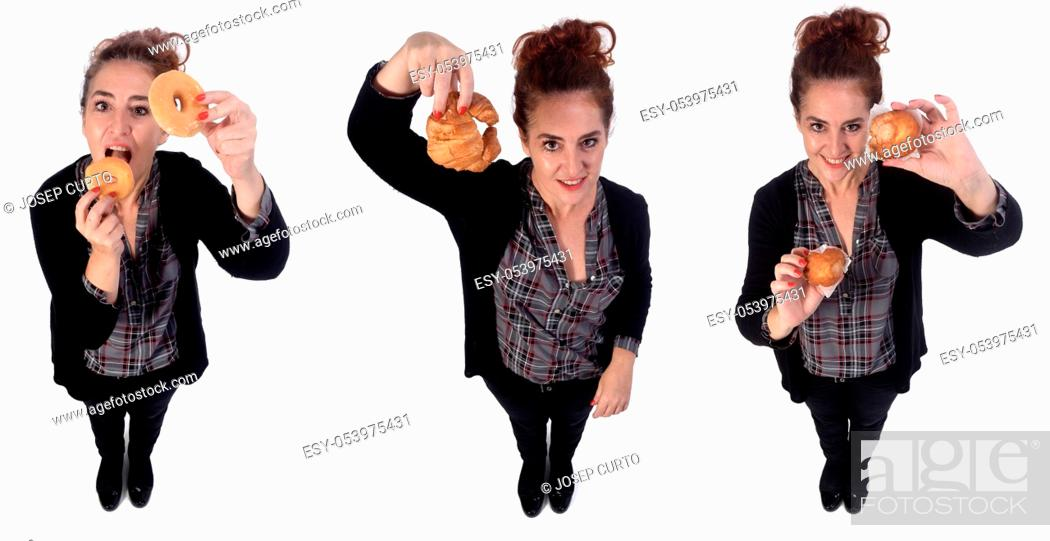 Photo de stock: woman with pastries on white background.