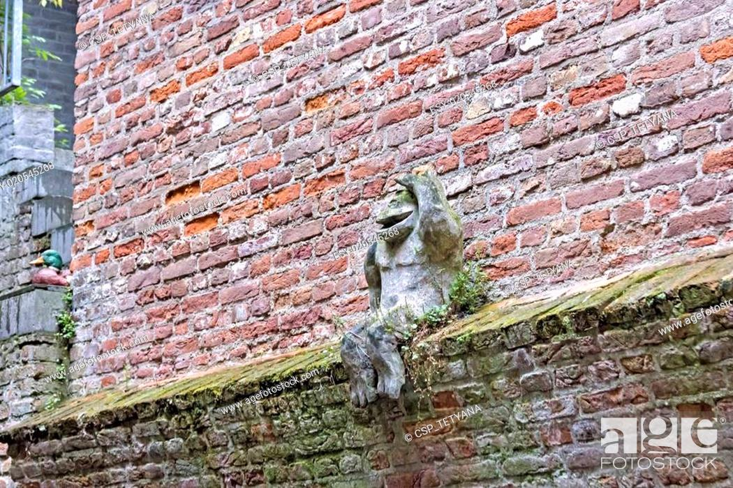 Stock Photo: View on the wall from the boat, Den Bosch, the Netherlands.