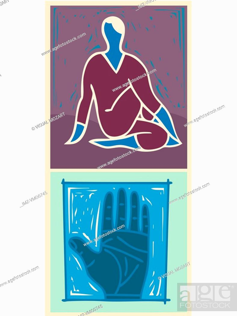 Stock Photo: Illustration of a woman meditating.