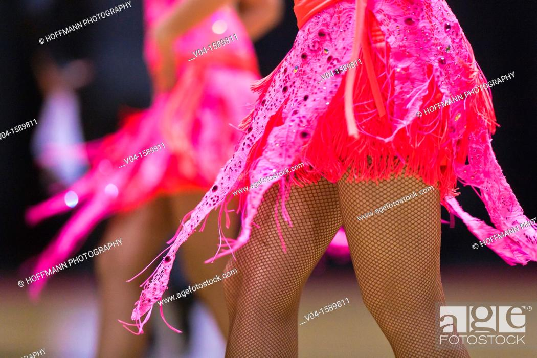 Stock Photo: Close up of a pink dress at a dancing competition, Germany, Europe.