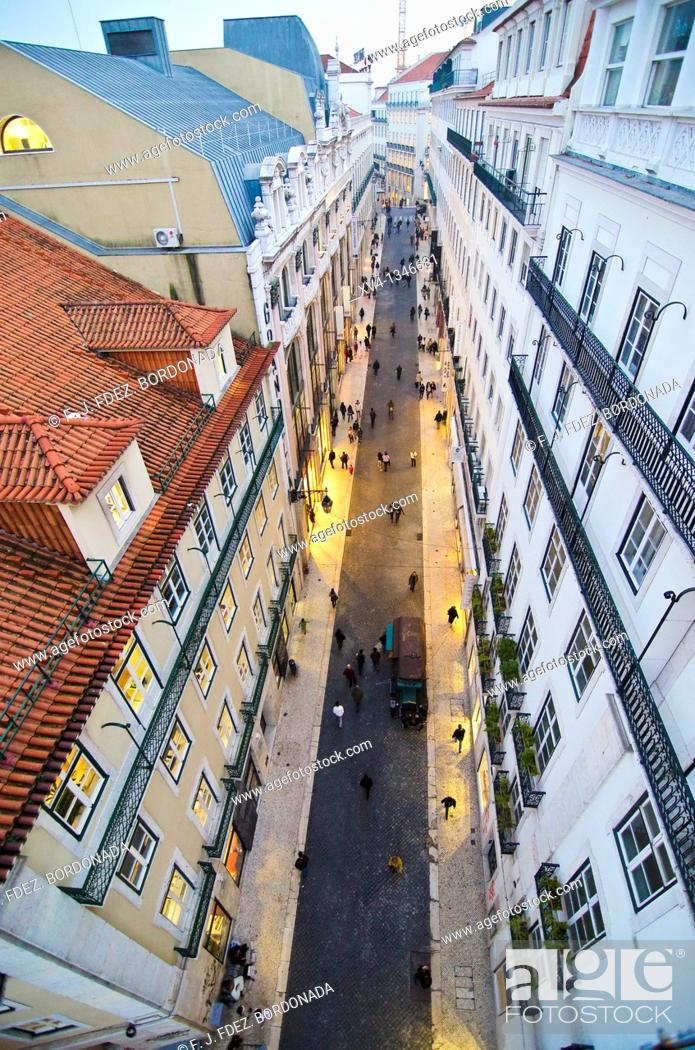 Stock Photo: Baixa views from Elevador Santa Justa, Lisbon, Portugal, Europe.
