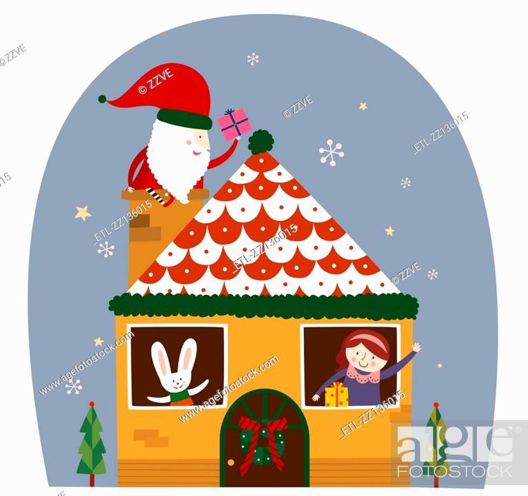 Stock Photo: Chimney in the Santa.